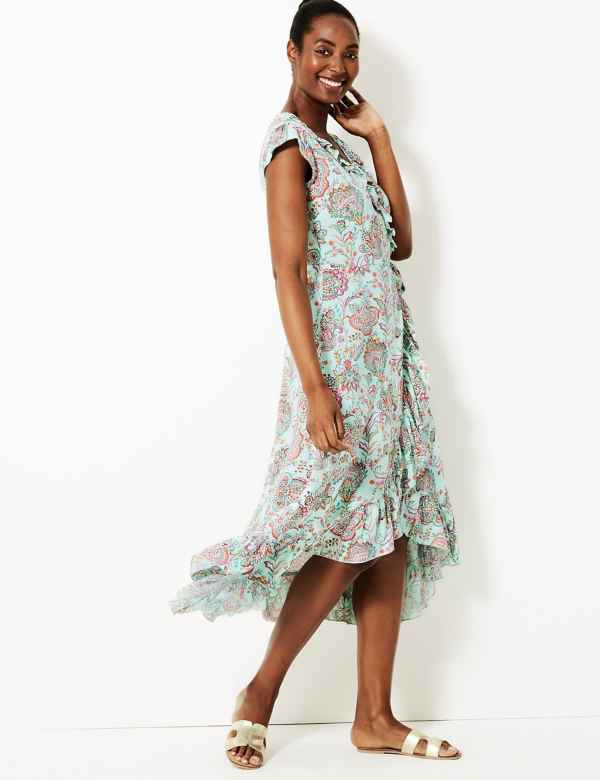 e7278f6917 Paisley Print Wrap Beach Dress