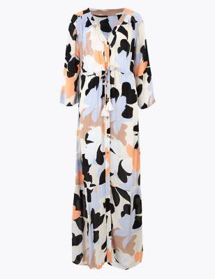 Floral Maxi Waisted Beach Dress