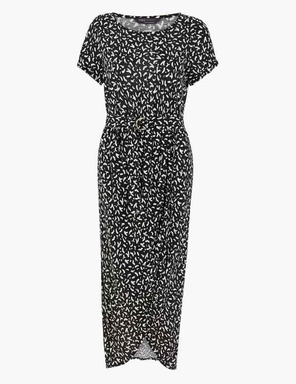 New M/&S Collection Curve Floral Blue Mix Print Slip Maxi Dress Sz UK 26