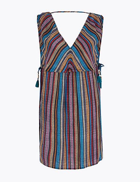 Cotton Rich Striped Mini Beach Dress