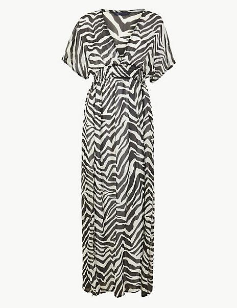 Zebra Print Maxi Beach Dress