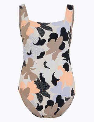 Tummy Control Floral Square Neck Swimsuit