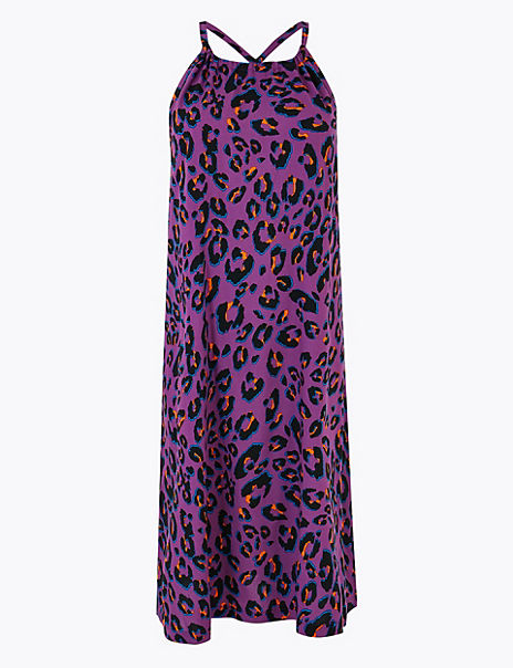Animal Print Woven Slip Beach Dress