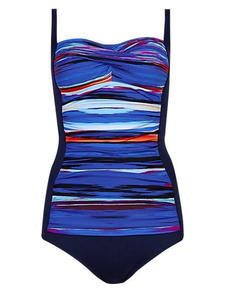 Secret Slimming™ Paint Striped & Ruched Swimsuit