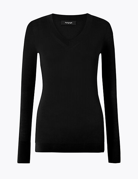 Fine Gauge Merino V-Neck Fitted Jumper