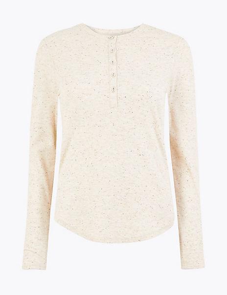 Textured Henley Long Sleeve Top