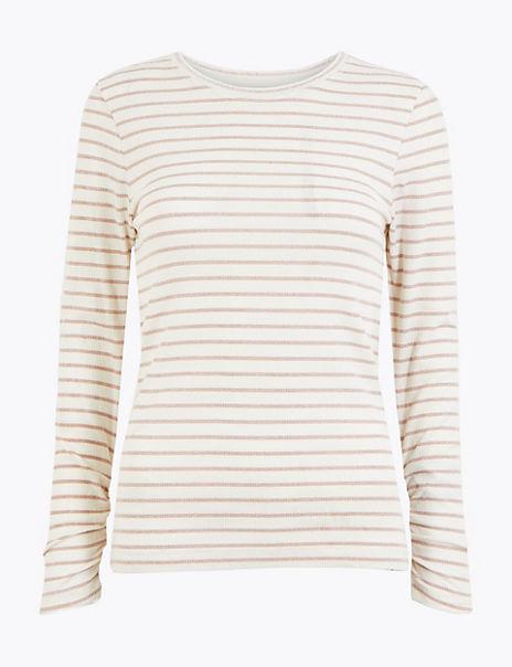 Lurex Striped Long Sleeve T-Shirt