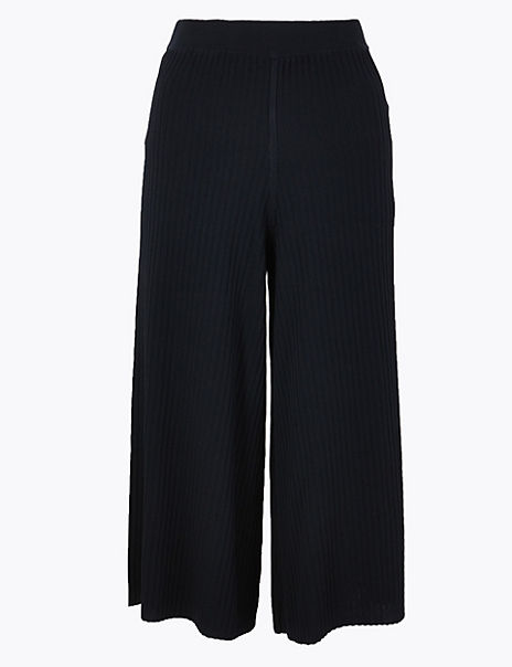 Compact Rib Cropped Length Culottes
