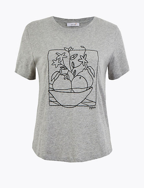 Pure Cotton Embroidered T-Shirt