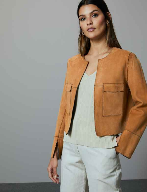 dc1e0b2fa51773 Leather Open Front Reversible Jacket