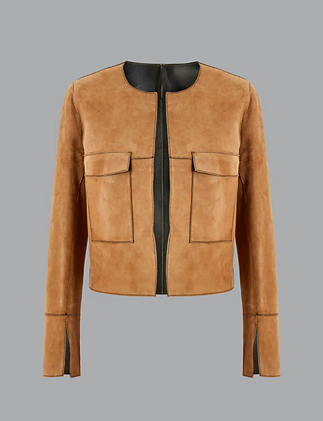 Leather Open Front Reversible Jacket