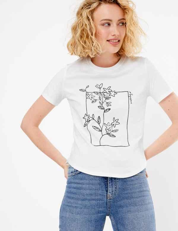 bb5075a07 Cotton Flower Motif Embroidered T-Shirt. New