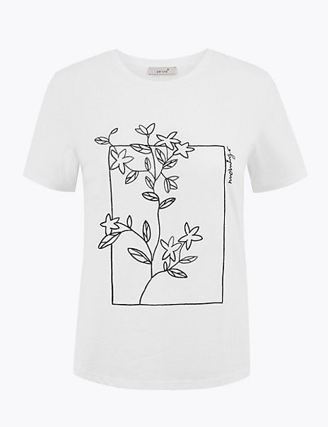 Pure Cotton Flower Embroidered T-Shirt