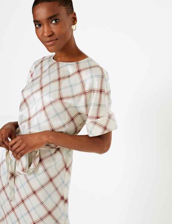 a48444f3ec0b02 Pure Silk Checked Tunic Dress