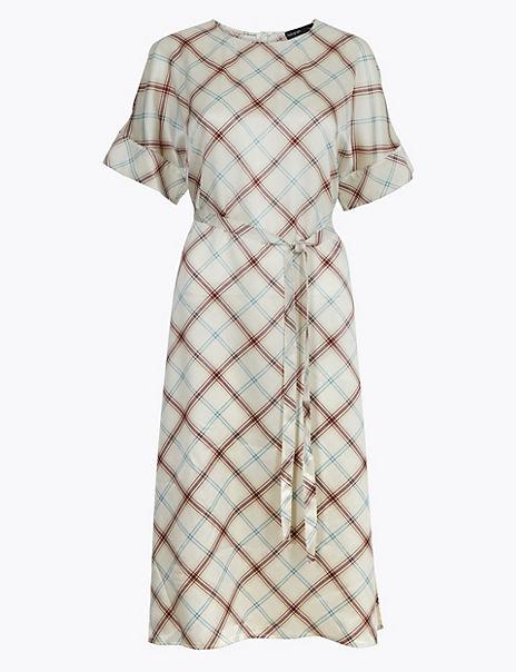 Pure Silk Checked Tunic Dress