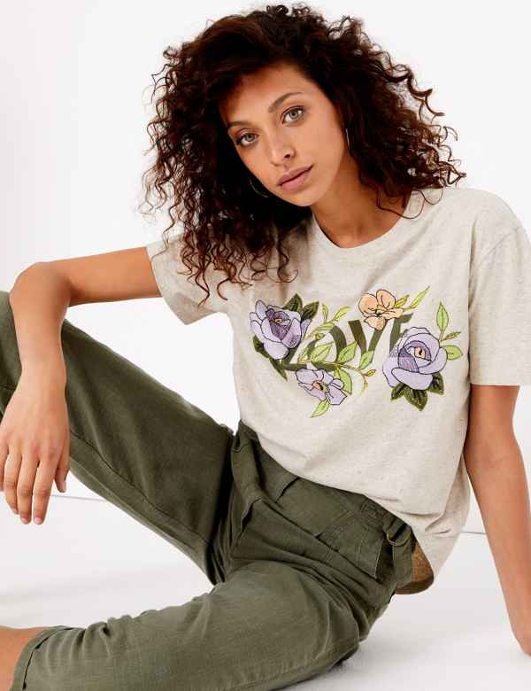 623a176edd5f6 Embroidered Love Graphic T-Shirt