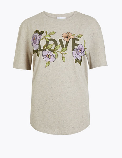 Embroidered Love Graphic T-Shirt