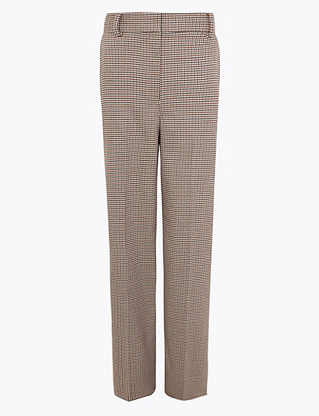 Cotton Blend Checked Straight Leg Trousers