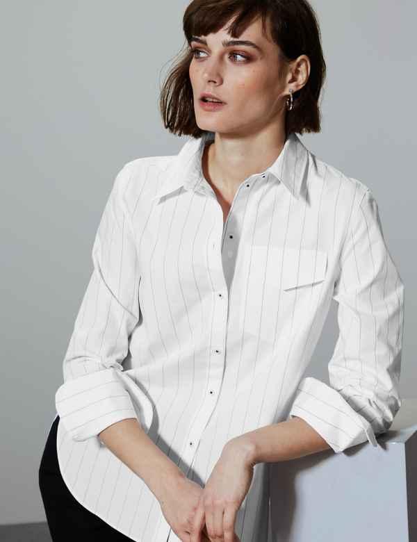 13e951eb7c1b00 Pure Cotton Striped Button Detailed Shirt