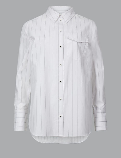 Pure Cotton Striped Button Detailed Shirt