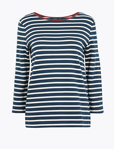 Striped Ponte Regular Fit 3/4 Sleeve T-Shirt