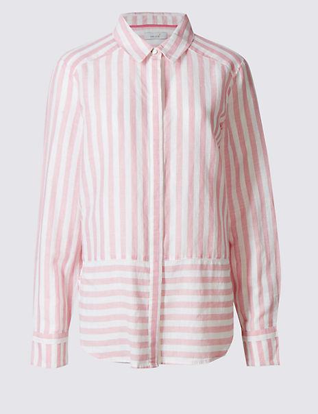 Linen Rich Contrasting Striped Hem Shirt