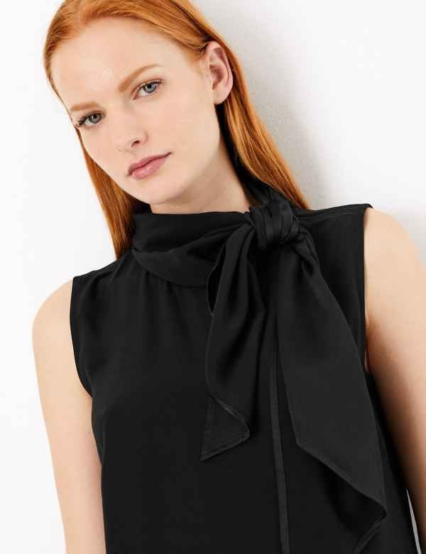 22d2ca7d855 Scarf Neckline Sleeveless Shell Top