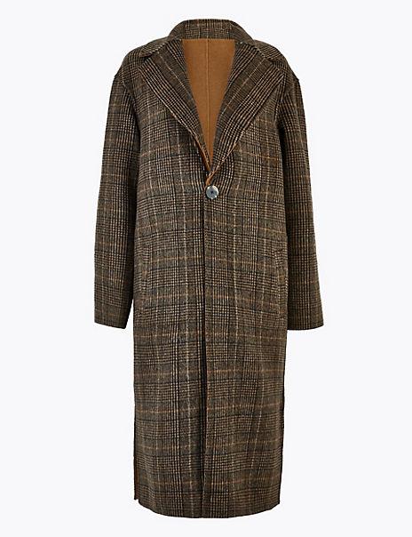 Wool Checked Reversible Overcoat