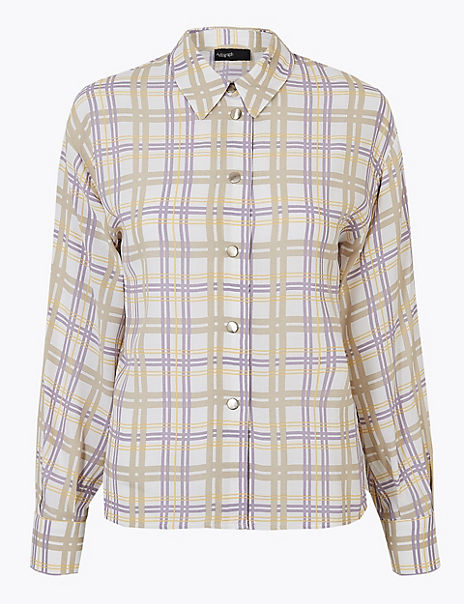 Checked Button Detailed Shirt