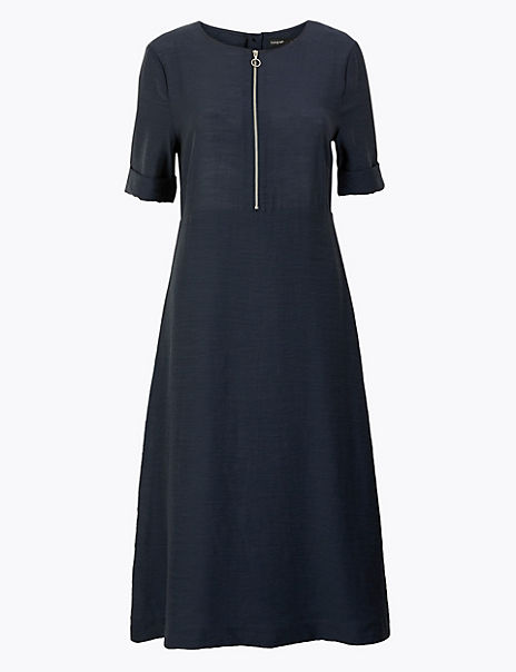 Fit & Flare Zip Front Dress
