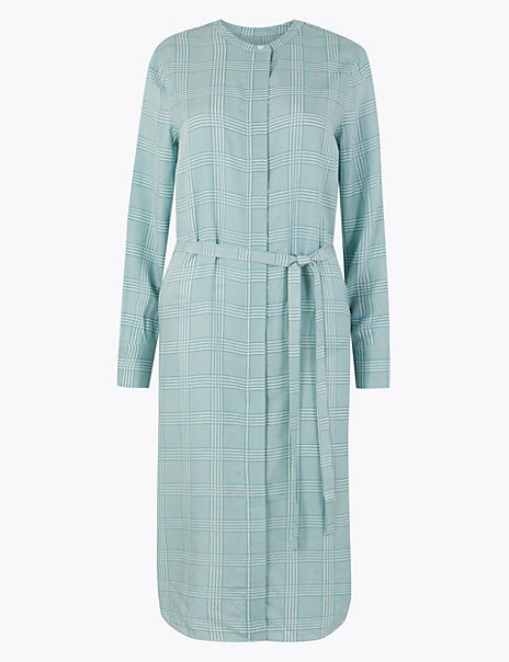 Checked Midi Shirt Dress