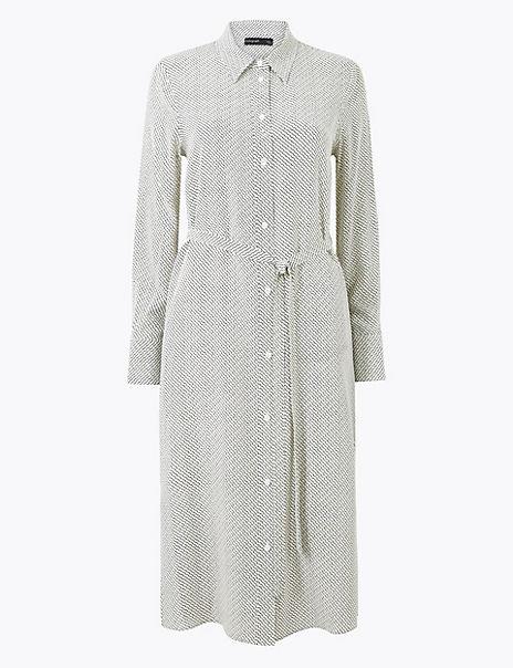 Pure Silk Printed Shirt Dress