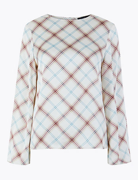 Satin Checked Long Sleeve Shell Top