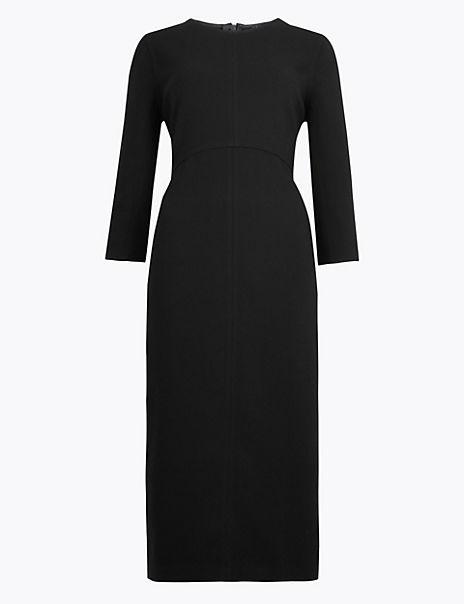 Crepe Stitch Detail Waisted Midi Dress