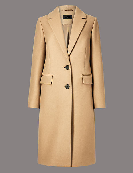 Wool Rich Single Breasted Coat with Cashmere