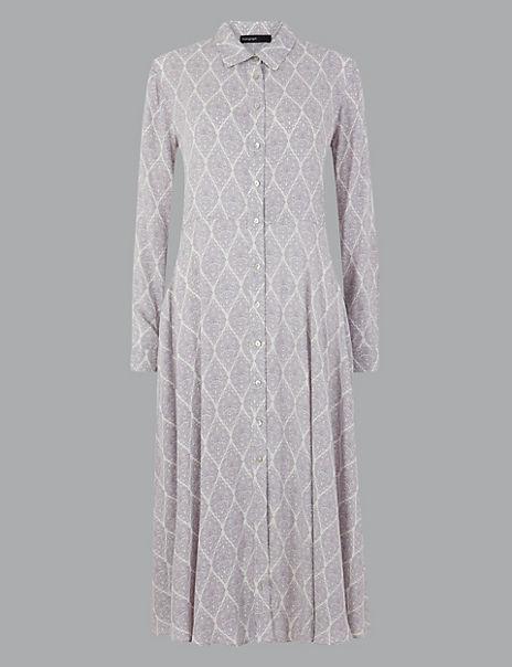 Printed Shirt Midi Dress