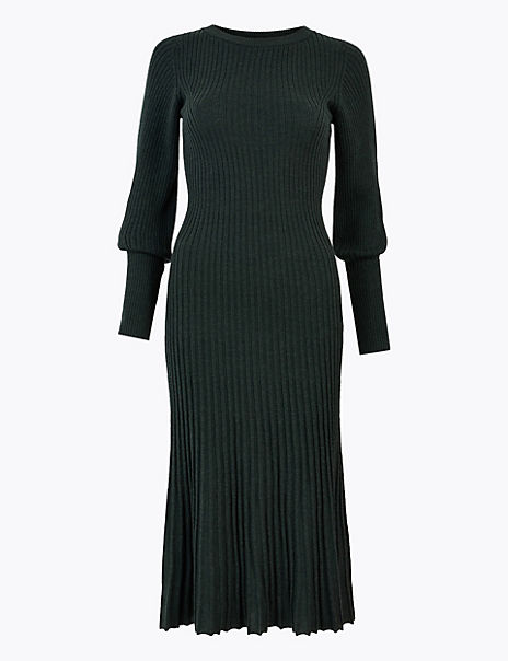 Merino Ribbed Knitted Dress