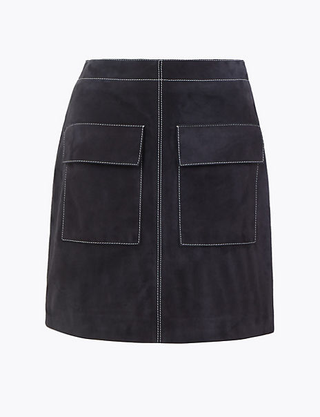 Suede Mini A-Line Skirt