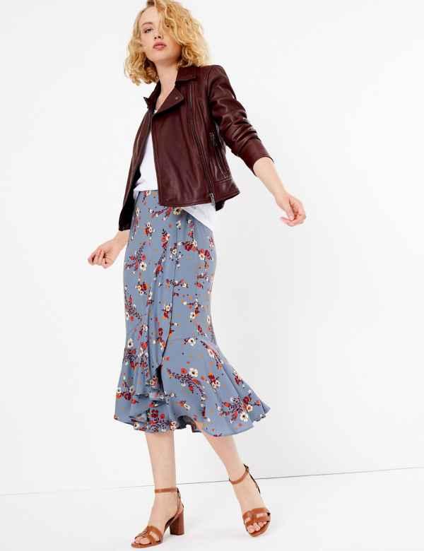 6fdfaa23c6ff Floral Print Frill Midi Skirt. New
