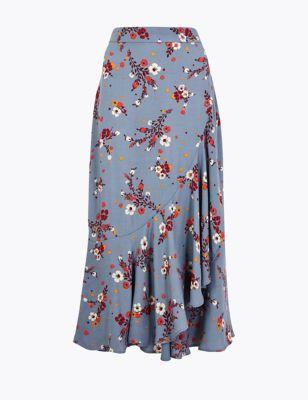 da4457f0f Floral Print Frill Midi Skirt £35.00