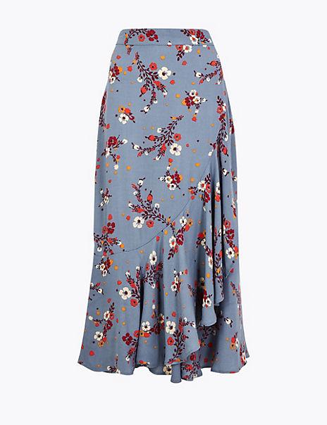 Floral Print Frill Midi Skirt
