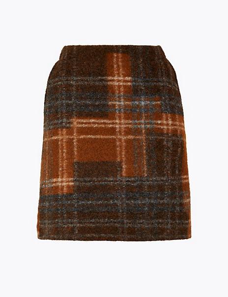Wool Checked Mini Skirt