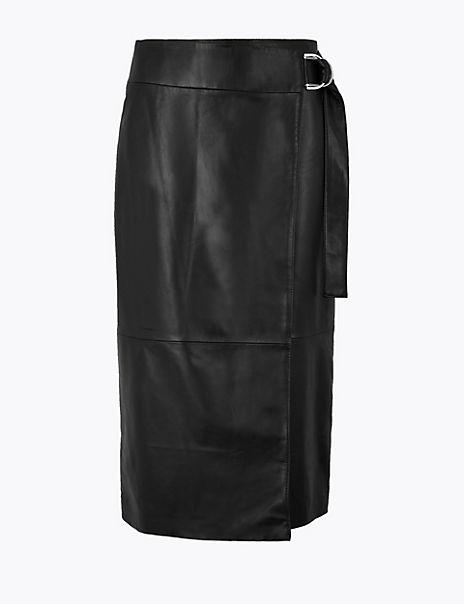 Leather Wrap Pencil Midi Skirt
