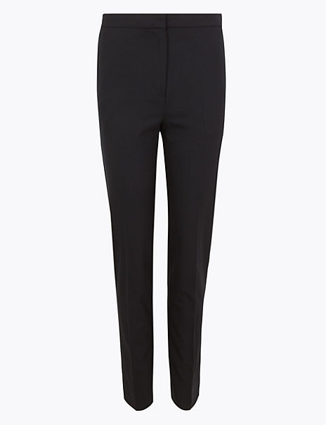 Wool Silk Blend Slim Ankle Grazer Trousers