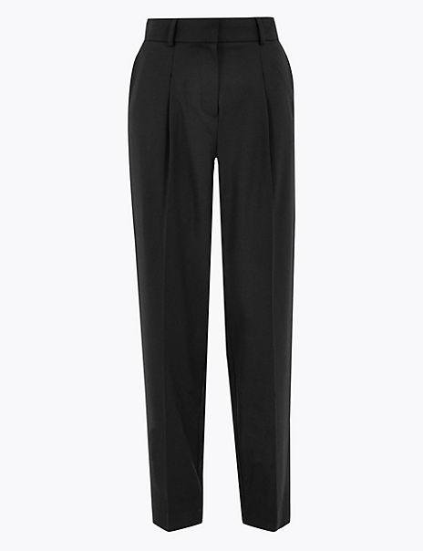 Wool Silk Slim Tapered Trousers