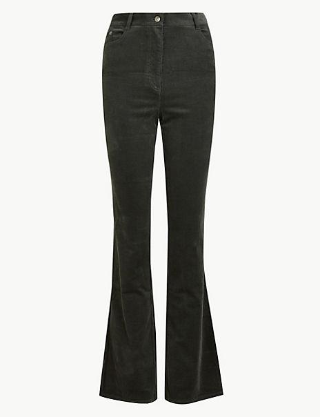 Cotton Rich Corduroy Slim Flare Trousers