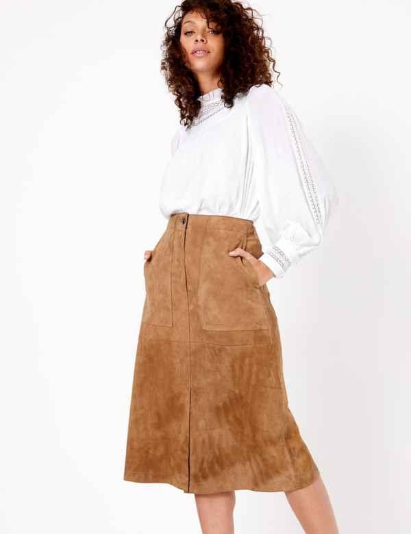 2107c1e7e Suede A-Line Midi Skirt