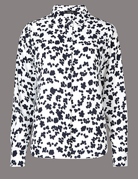 Printed Collared Neck Long Sleeve Shirt