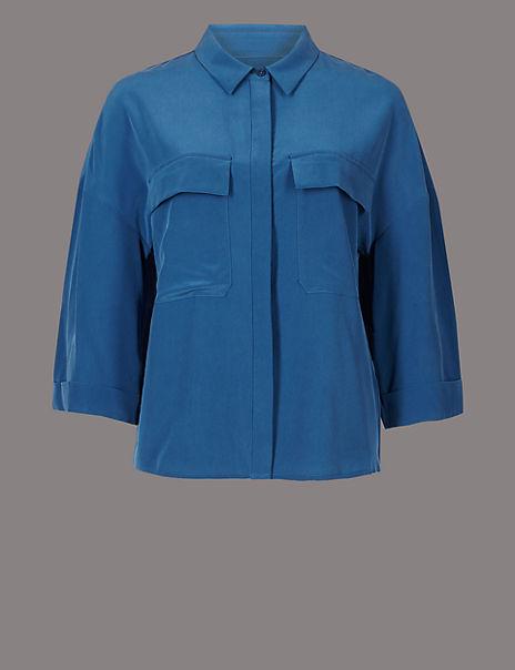 Pure Silk 3/4 Sleeve Shirt