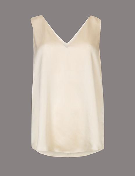 Pure Silk Sleeveless Vest Top